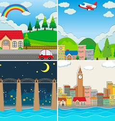 Four different scenes of city vector