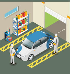 Isometric car painting service concept vector