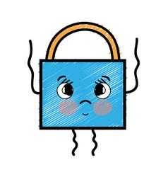 Kawaii cute tender padlock security vector