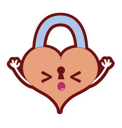 Line color sleeping heart padlock kawaii personage vector