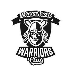 Monochrome logo emblem knight in helmet against vector