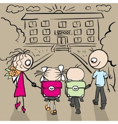 Parents and children are going to school vector
