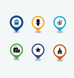 pin with icons set of travel vector image vector image