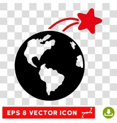Rising satellite on earth eps icon vector