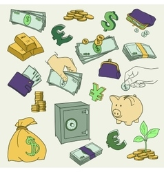 Set of doodle money symbol vector image