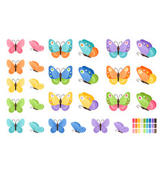 watercolor butterflies icons vector image vector image