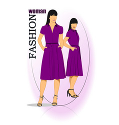 Young fashion woman in purple dress vector