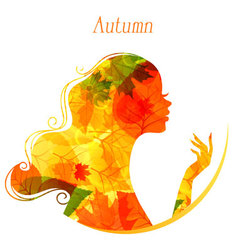 Silhouette profile autumn vector image
