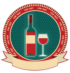 Red wine bottle label symbol background vector image