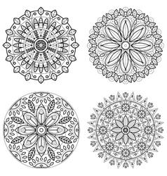 Four round ornaments - spring flower Mandala set vector image