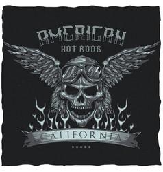 Vintage hot rod t-shirt label design vector