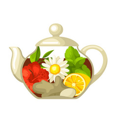 Glass teapot with different tastes vector