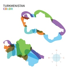 Abstract color map of turkmenistan vector