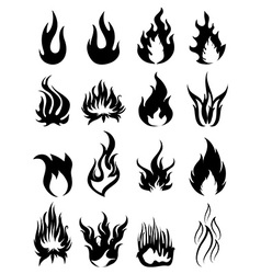 Fire silhouette icons set vector