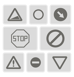 Monochrome icons with traffic signs vector