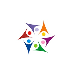 Circle star people group colorful connect joy logo vector