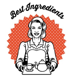 retro woman with a set of tea vector image