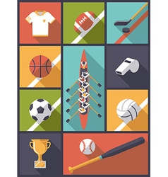 Flat design team sports icons vector