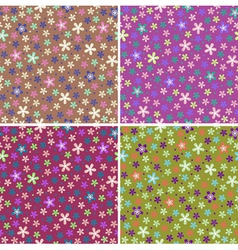 Flower seamless color pattern set vector
