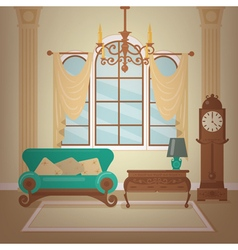 Classic home interior of living room vector
