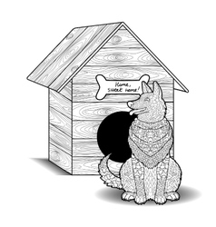 Happy dog sits in front of the doghouse vector