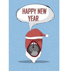 Happy new year devil mouth santa cute christmas vector