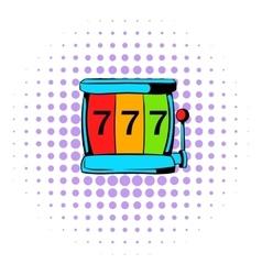 Slot machine jackpot icon comics style vector