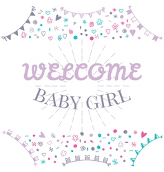 Welcome baby girl baby shower greeting card cute vector