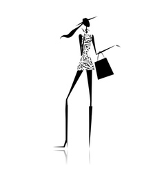 Fashion girl silhouette with shopping bag vector
