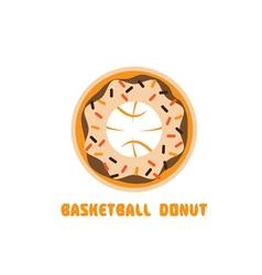 Basketball donut negative space concept vector