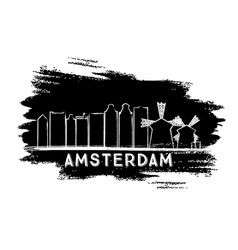 Amsterdam skyline silhouette hand drawn sketch vector