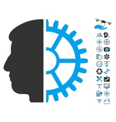 Android head icon with air drone tools bonus vector