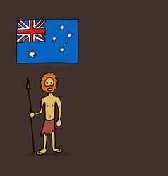 Australian aborigine and flag vector