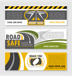 Banners of safety road construction company vector