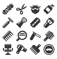 barber shop icons set vector image