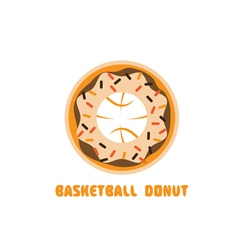 Basketball donut negative space concept vector