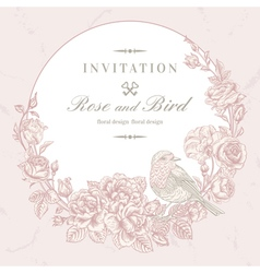 Beautiful frame with roses and bird vector image