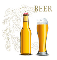 Bottle of beer and a glass on the background vector