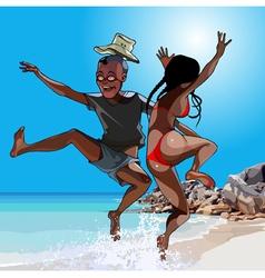 cartoon man and woman having fun jumping vector image vector image