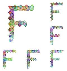 Colorful ellipse fractal font - letter f vector