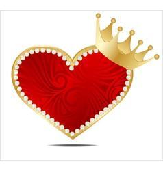 crown golden heart vector image