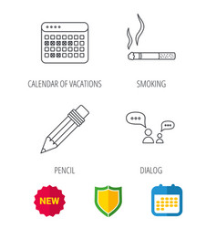 Dialogue pencil and smoking icons vector