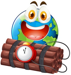 Earth with happy face and time bomb vector