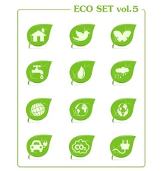 Ecology icon set v4 Leaf nature icons vector image vector image