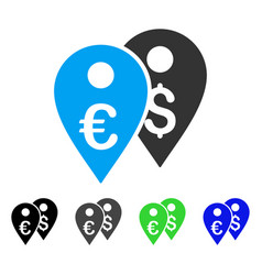 Euro and dollar map markers flat icon vector