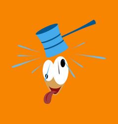 Flat icon on theme humor hammer on the head vector