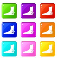 Foot heel icons 9 set vector