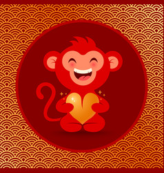 golden monkey with heart vector image vector image