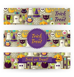 Halloween Holiday Template Banners Set in Modern vector image vector image