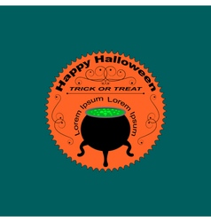 Halloween logo sign with cauldron vector image